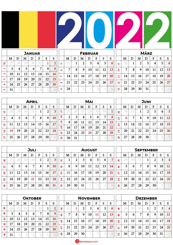 kalender 2022 mit feiertagen Belgien