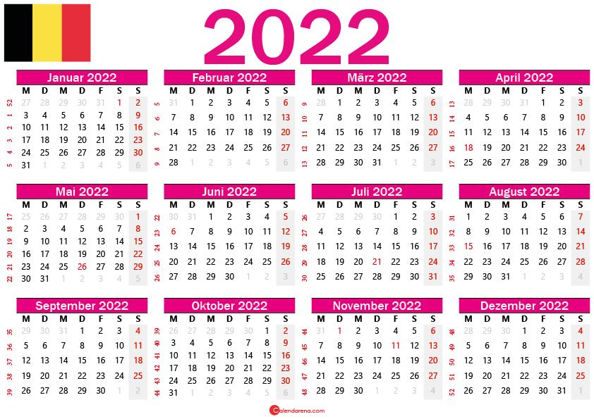 kalender 2022 zum ausdrucken Belgien