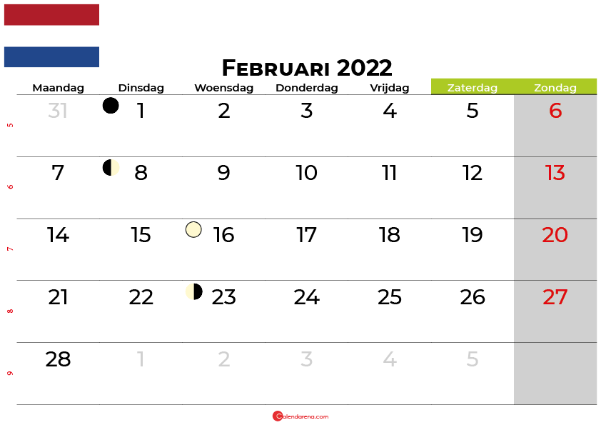 kalender Februari 2022 Nederland