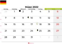 kalender März 2022 Deutschland
