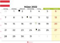 kalender März 2022 Österreich