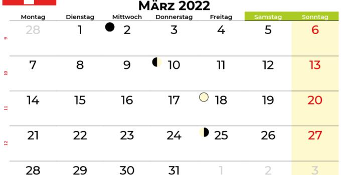 kalender März 2022 Schweiz