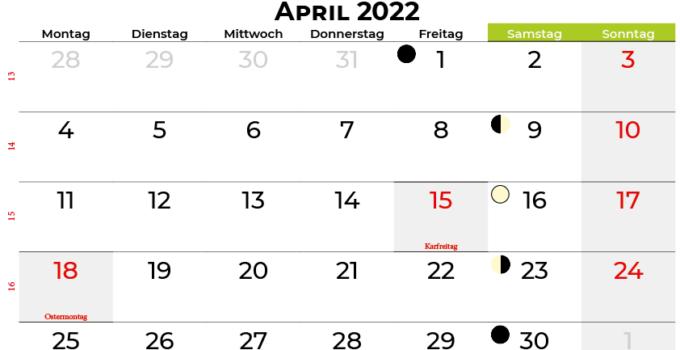 kalender april 2022 Deutschland
