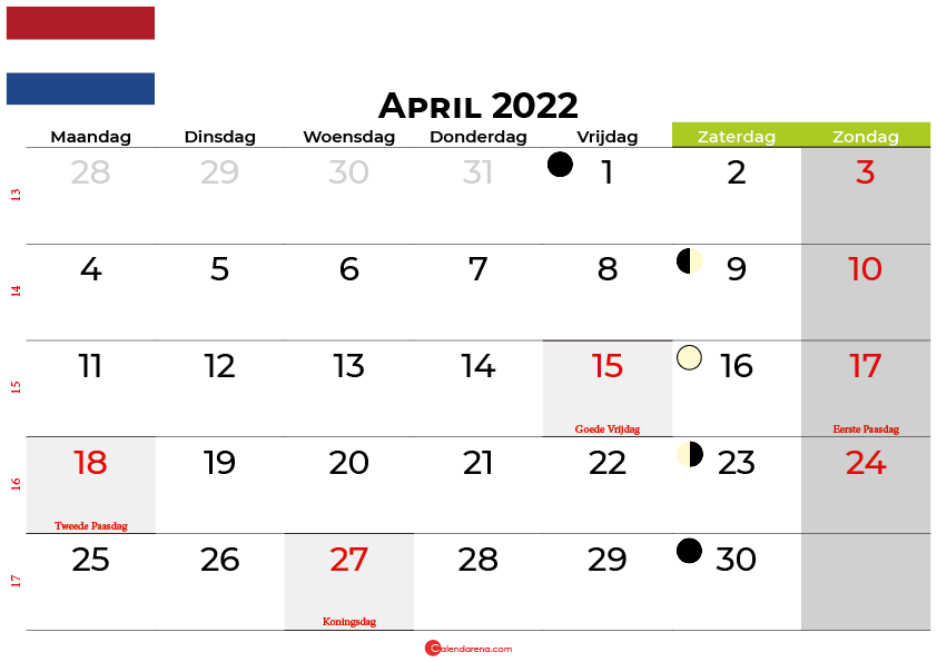 kalender april 2022 Nederland