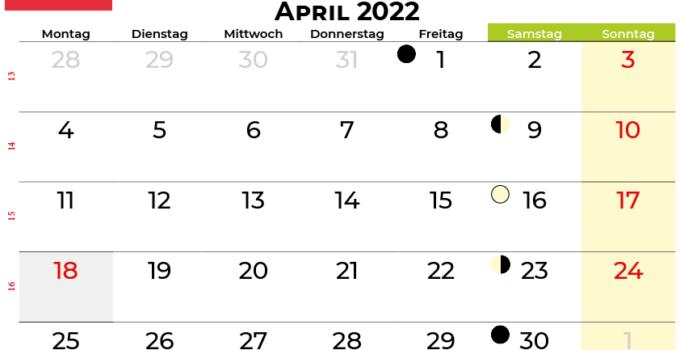kalender april 2022 Österreich