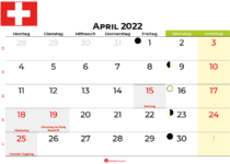 kalender april 2022 Schweiz