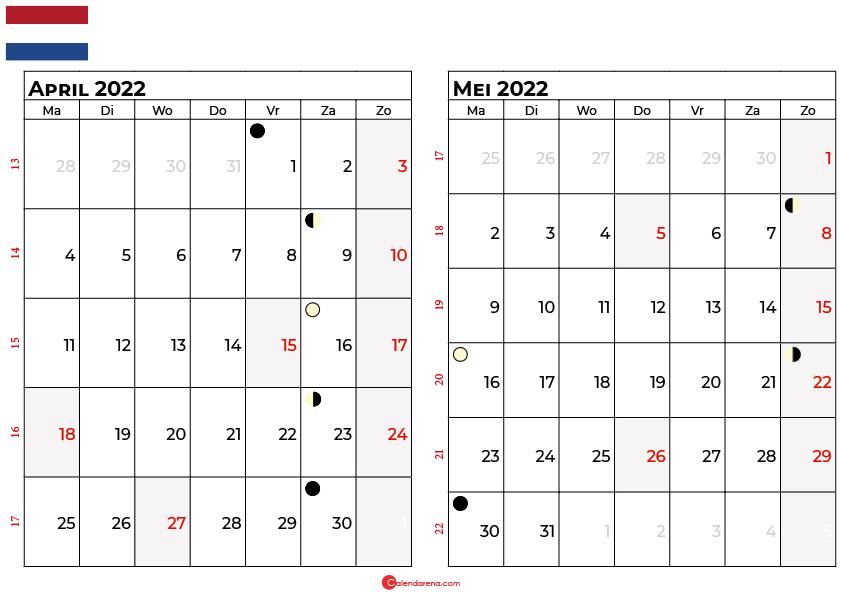 kalender april mei 2022 Nederland
