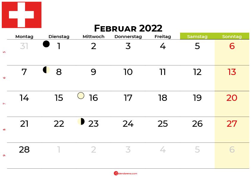kalender februar 2022 Schweiz