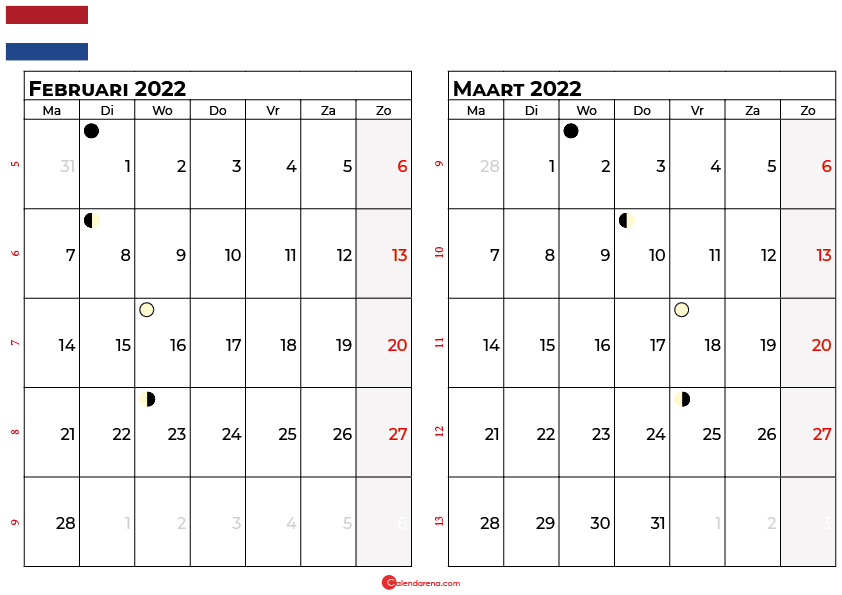 kalender februari maart 2022 Nederland