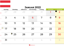 kalender januar 2022 Österreich