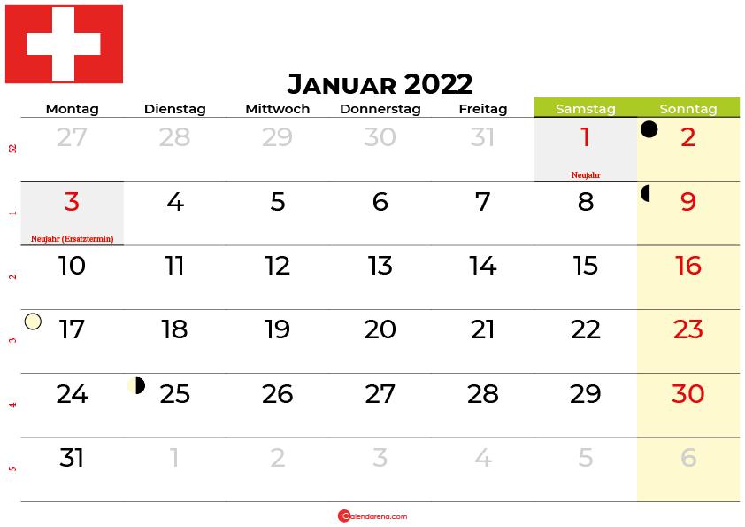 kalender januar 2022 Schweiz