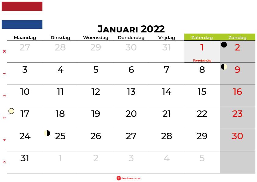 kalender januari 2022 Nederland