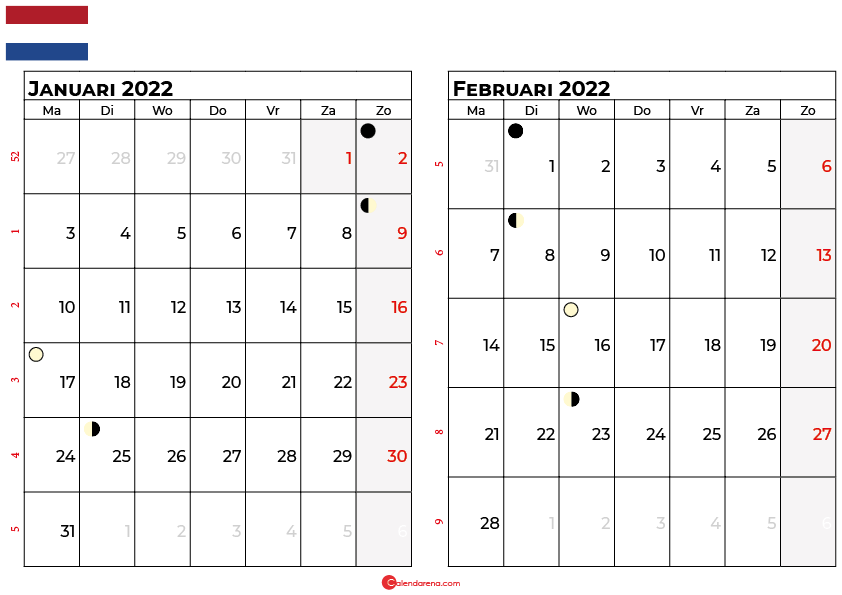 kalender januari februari 2022 Nederland