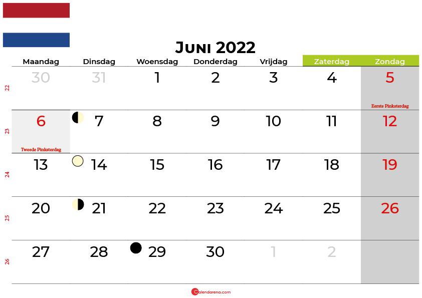 kalender juni 2022 Nederland