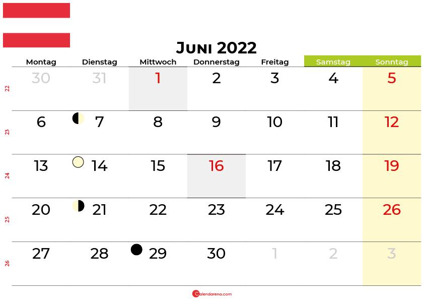 kalender juni 2022 Österreich