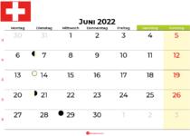 kalender juni 2022 Schweiz