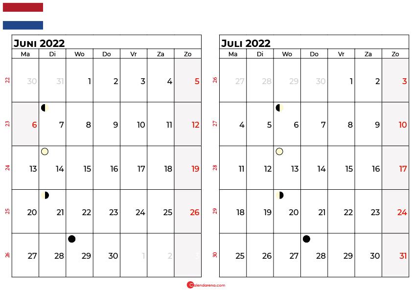 kalender juni juli 2022 Nederland