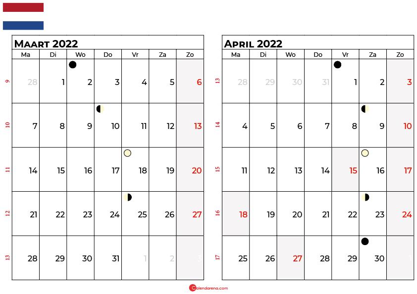 kalender maart april 2022 Nederland