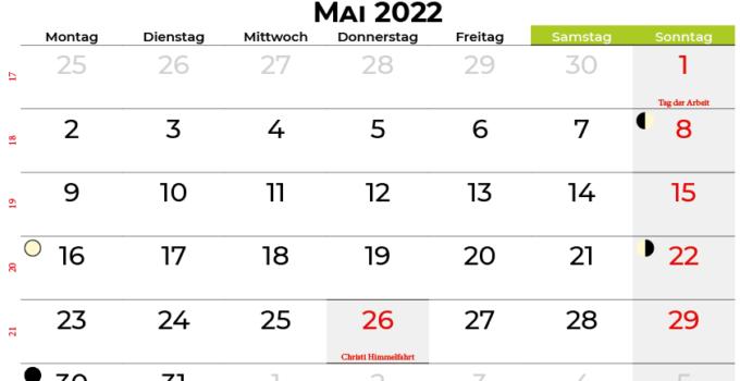 kalender mai 2022 Deutschland