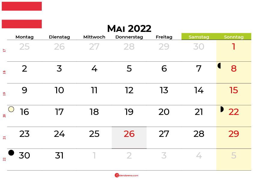 kalender mai 2022 Österreich