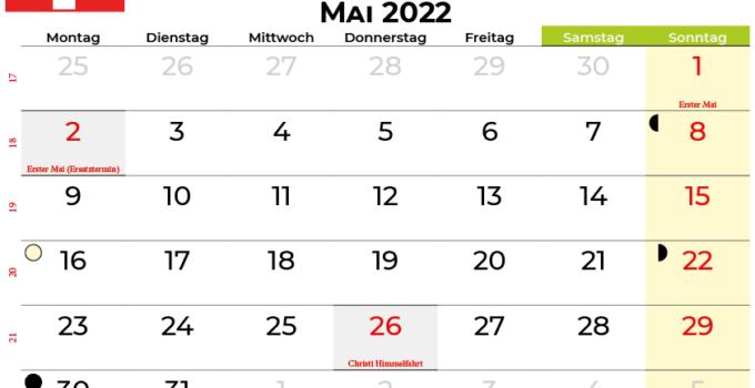 kalender mai 2022 Schweiz