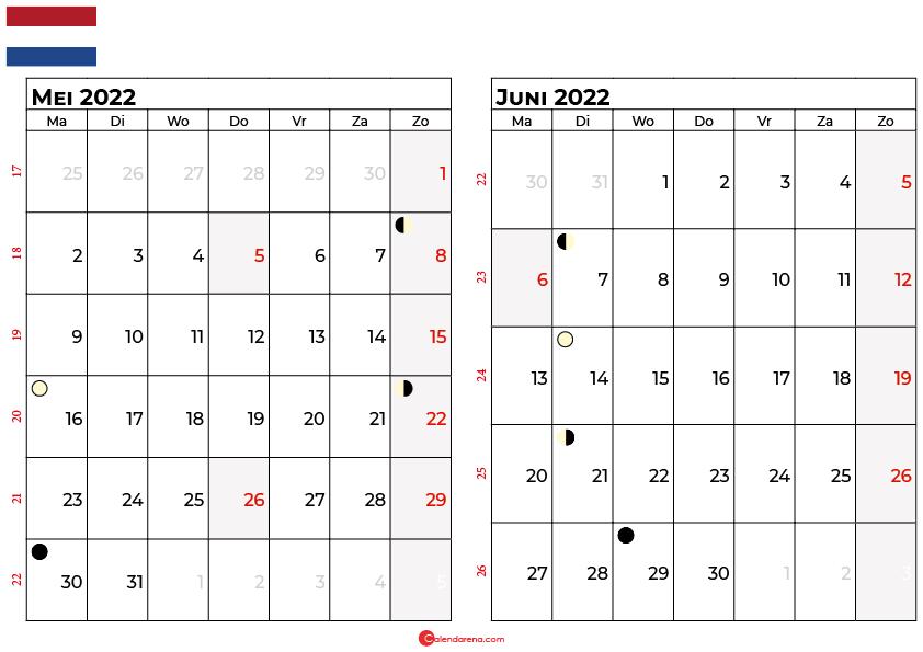 kalender mei juni 2022 Nederland