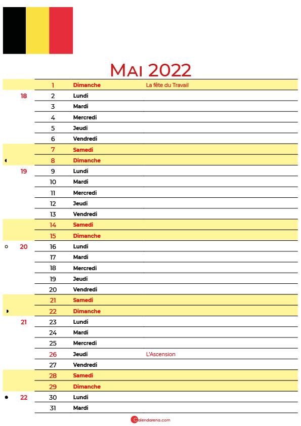 mai 2022 calendrier belgique