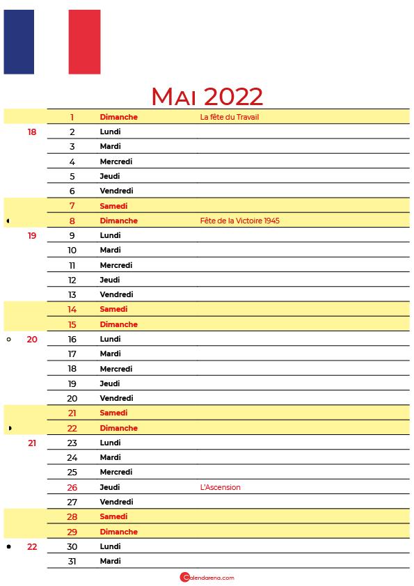 mai 2022 calendrier france