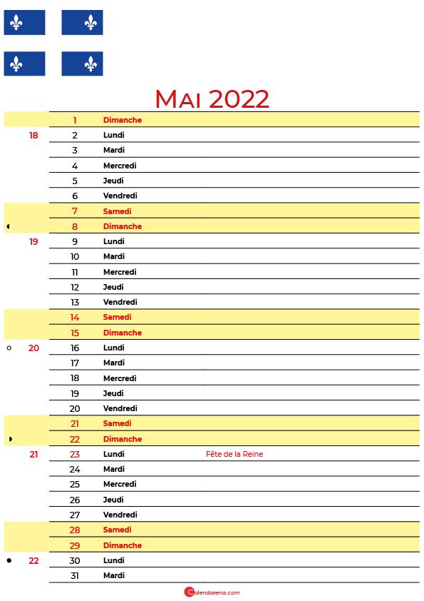 mai 2022 calendrier québec canada