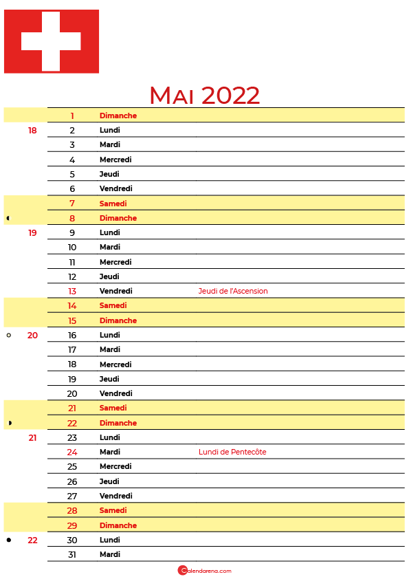 mai 2022 calendrier suisse