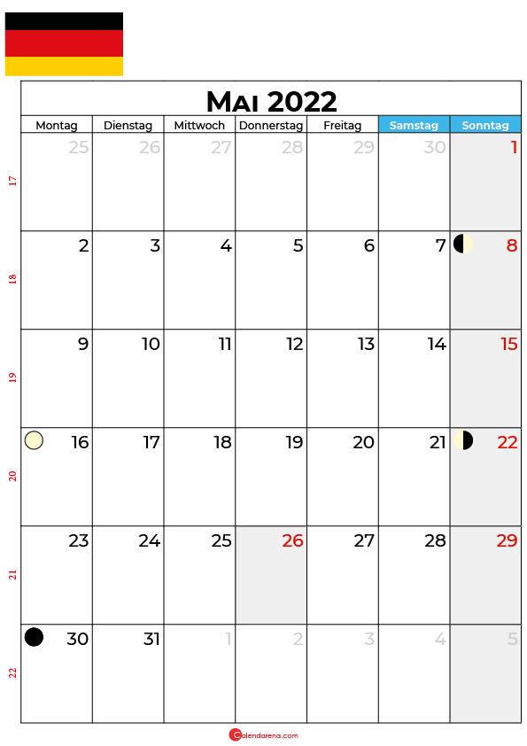 mai 2022 kalender Deutschland