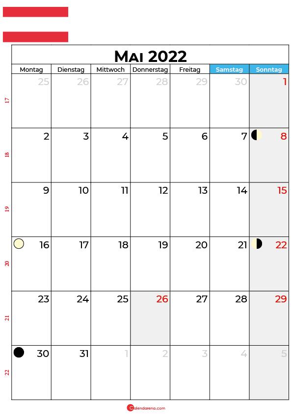 mai 2022 kalender Österreich