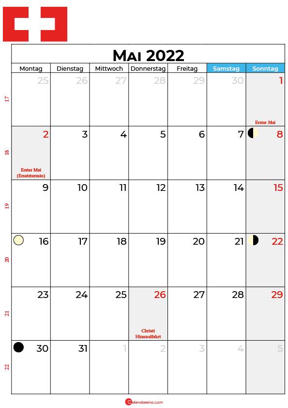 mai 2022 kalender Schweiz