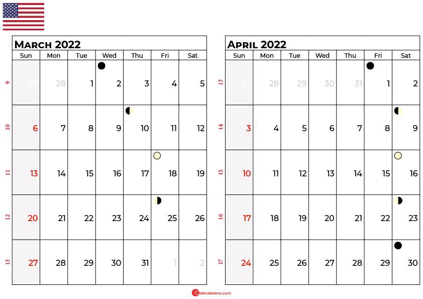 march and april 2022 calendar usa
