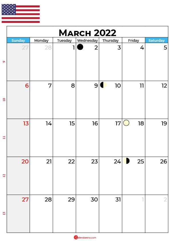 march calendar 2022 united states