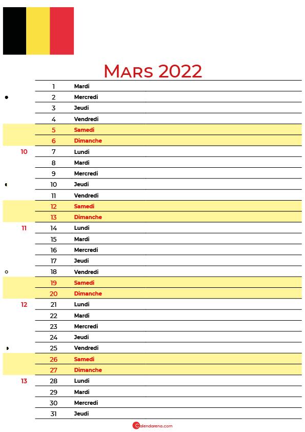 mars 2022 calendrier belgique