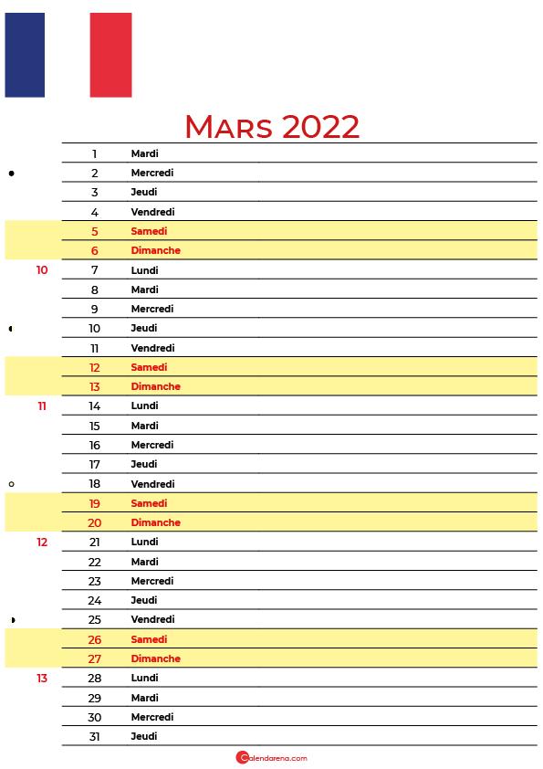 mars 2022 calendrier france