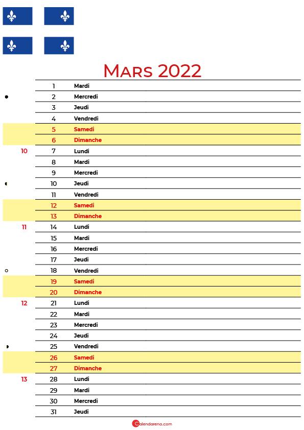 mars 2022 calendrier québec canada