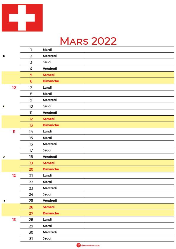mars 2022 calendrier suisse
