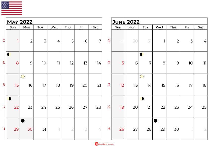 may and june 2022 calendar usa