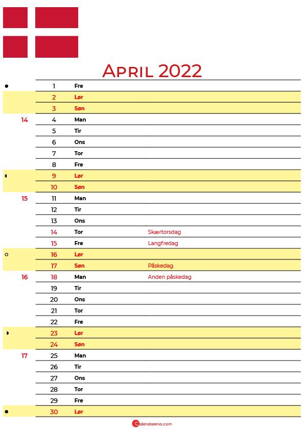 Danmark kalender April 2022