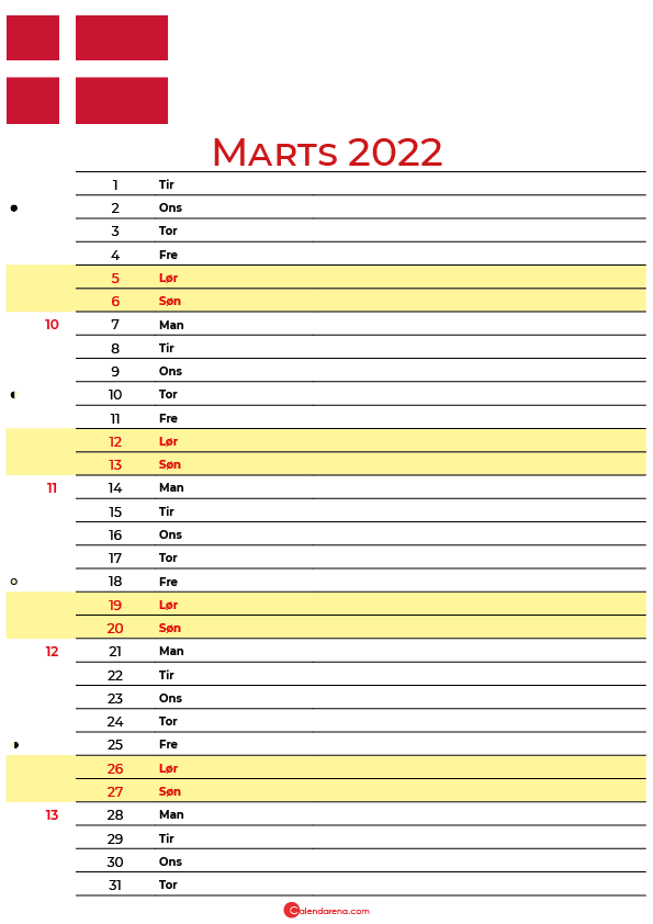 Danmark kalender Marts 2022