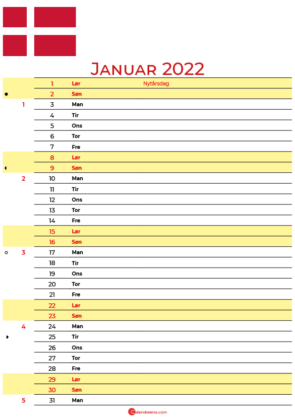 Danmark kalender januar 2022