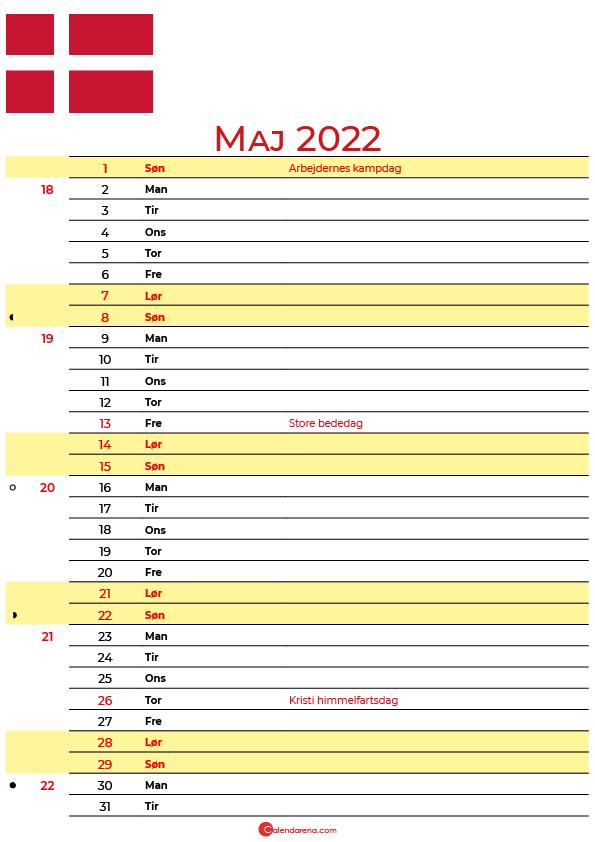 Danmark kalender maj 2022