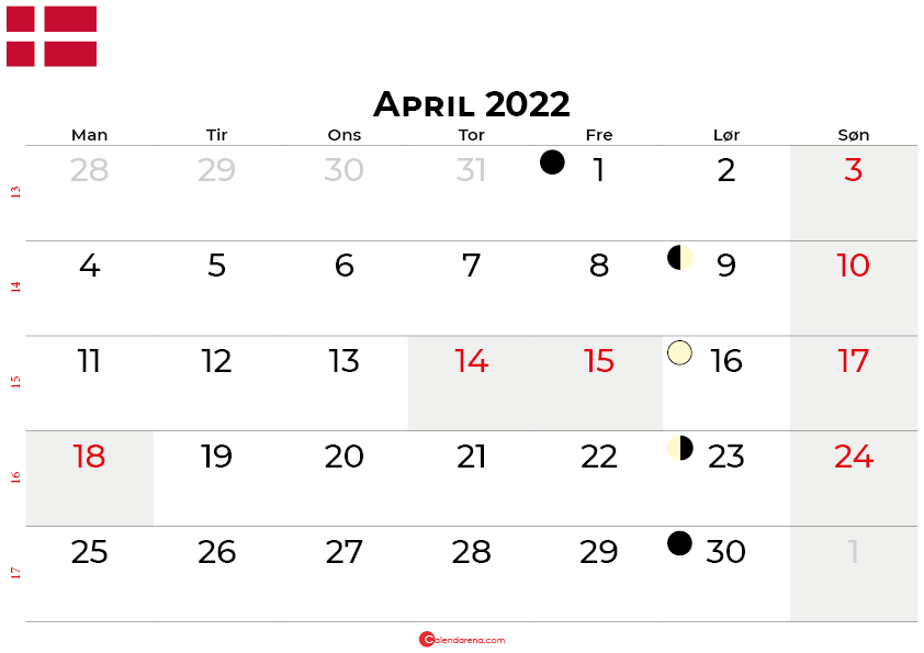 april 2022 kalender Danmark