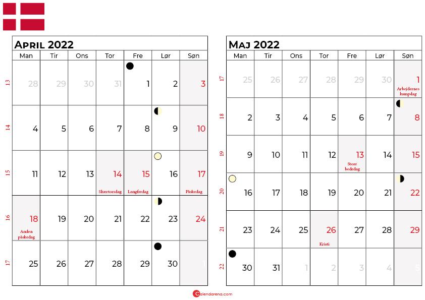 april maj 2022 kalender Danmark