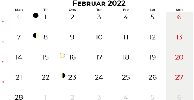 februar 2022 kalender Danmark
