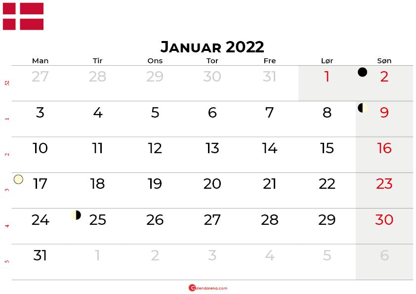 januar 2022 kalender Danmark
