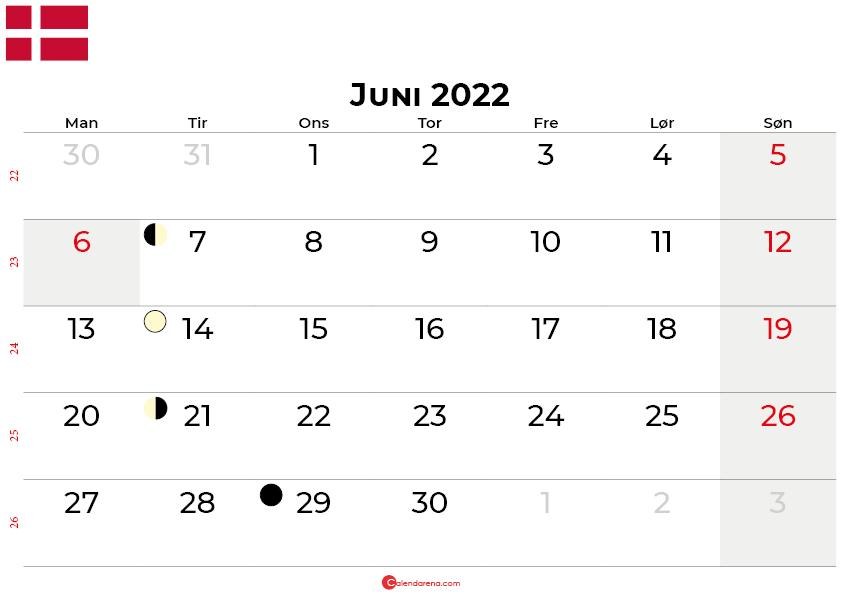 juni 2022 kalender Danmark