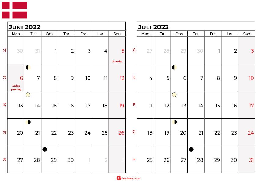 juni juli 2022 kalender Danmark